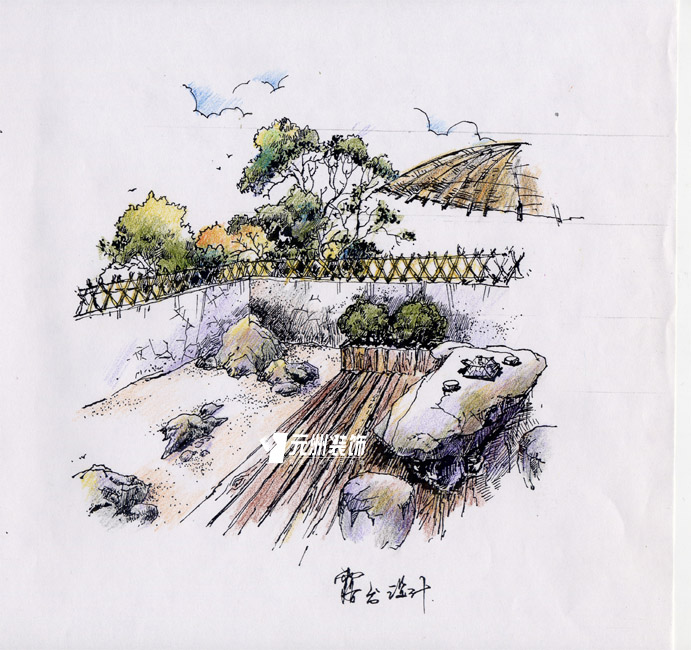 枯山水庭院手绘效果图